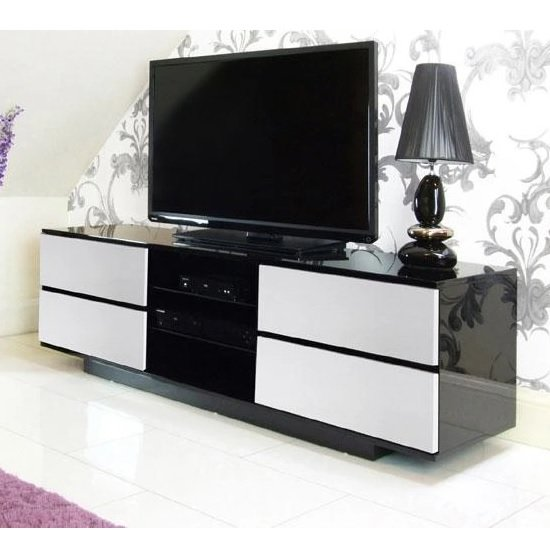 Boone TV Stand In Black High Gloss With White Gloss Drawers