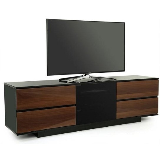 Boone Ultra TV Stand In Black Gloss With Walnut Gloss Drawers
