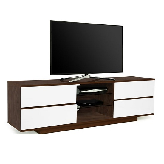 Boone Wooden TV Stand In Walnut With White Gloss Drawers