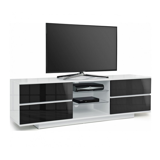 Boone TV Stand In White High Gloss With Black Gloss Drawers