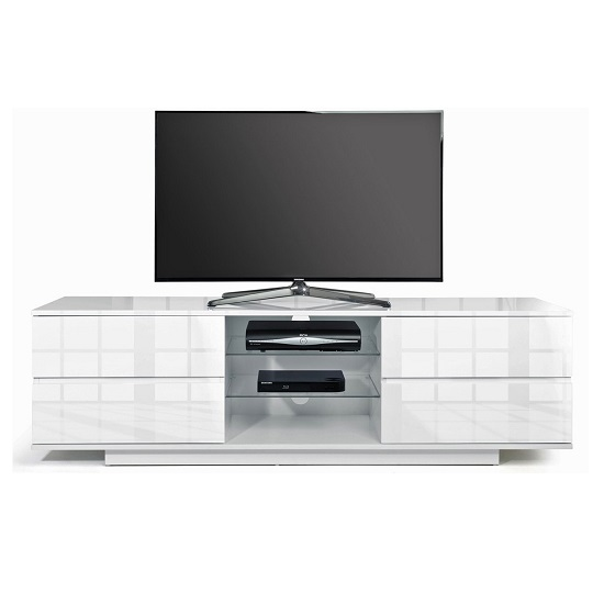 Boone Wooden TV Stand In White High Gloss With Four Drawers