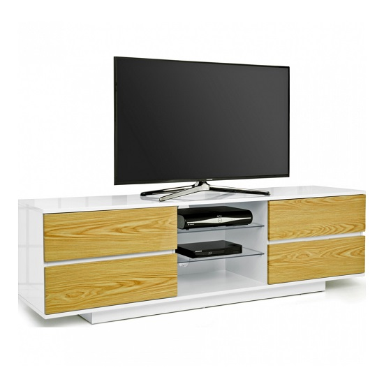 Boone TV Stand In White High Gloss With Oak Gloss Drawers