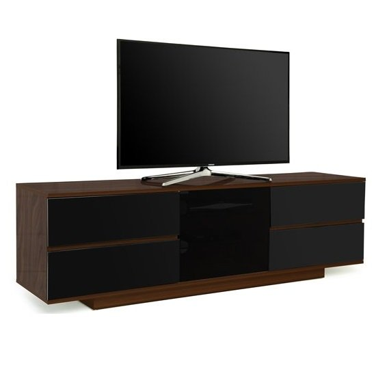 Boone Ultra TV Stand In Walnut With Black Gloss Drawers
