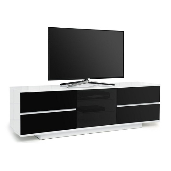 Boone Ultra TV Stand In White Gloss With Black Gloss Drawers