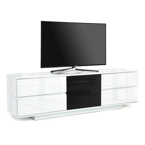 Boone Ultra TV Stand In White High Gloss With Four Drawers