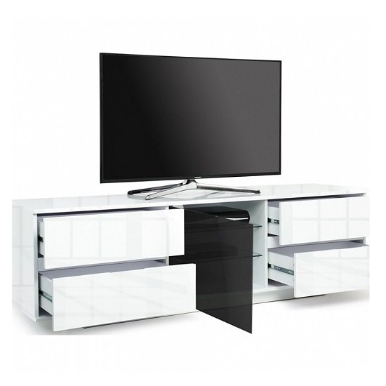 Boone Ultra TV Stand In White High Gloss With Four Drawers_2