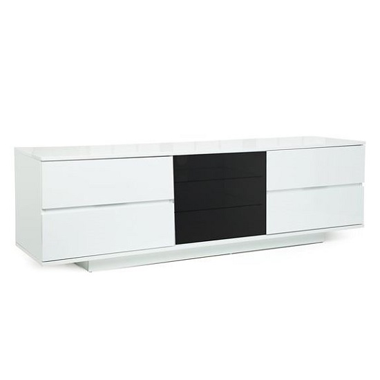Boone Ultra TV Stand In White High Gloss With Four Drawers_3