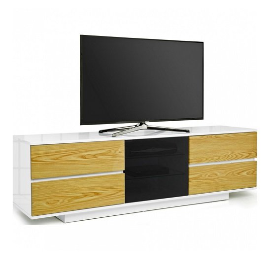 Boone Ultra TV Stand In White Gloss With Oak Gloss Drawers
