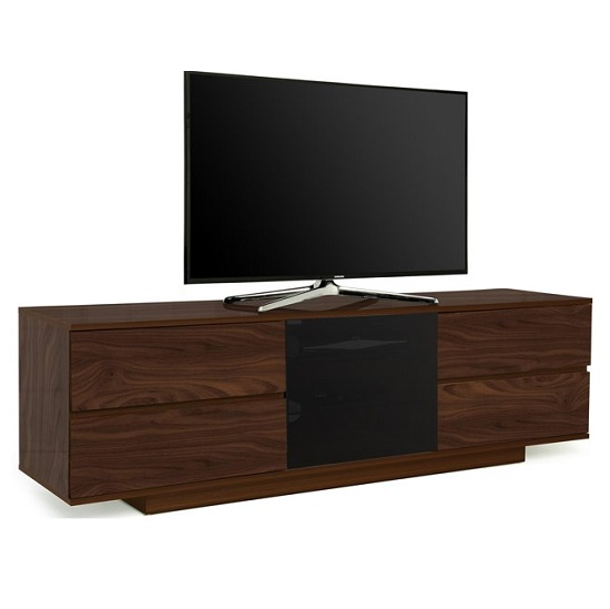 Boone Ultra TV Stand In Walnut Finish With Four Drawers