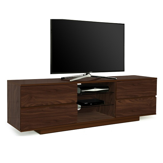 Boone Wooden TV Stand In Walnut With Four Drawers
