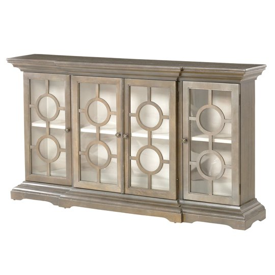 Bordeaux Wooden Display Cabinet In Pewter Grey With 4 Doors