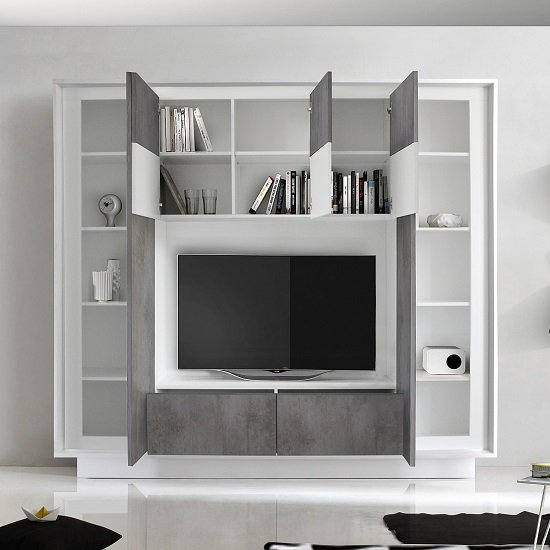 Borden Modern Entertainment Wall Unit In Cement Grey And White_2