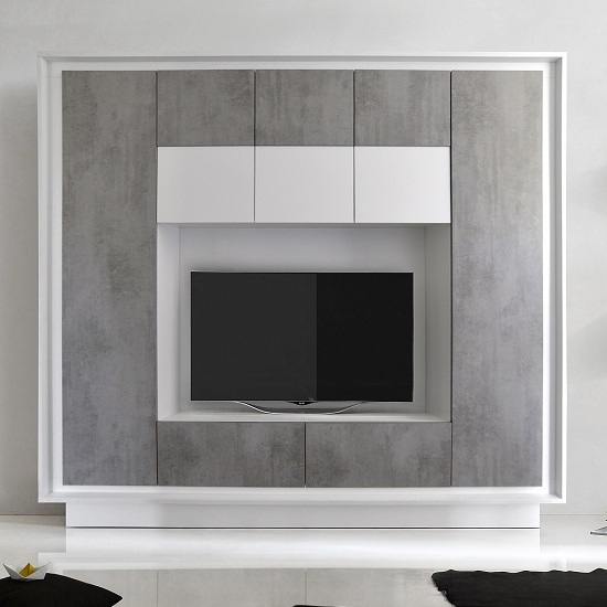 Borden Modern Entertainment Wall Unit In Cement Grey And White