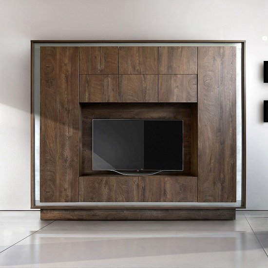 Borden Modern Entertainment Wall Unit In Cognac Oak