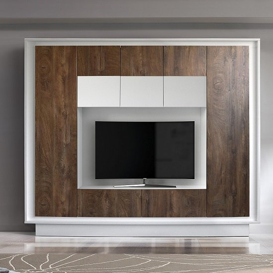Borden Modern Entertainment Wall Unit In White And Cognac Oak_1