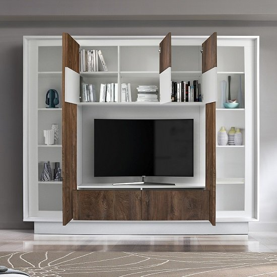 Borden Modern Entertainment Wall Unit In White And Cognac Oak_2