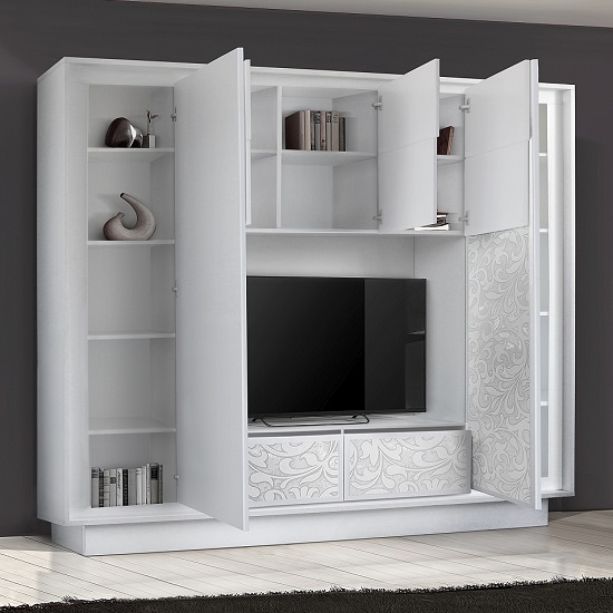 Borden Entertainment Wall Unit In White And Flowers Serigraphy_2