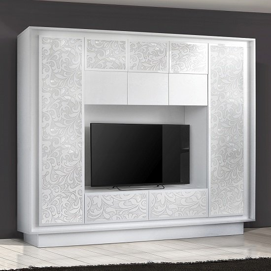 Borden Entertainment Wall Unit In White And Flowers Serigraphy_1