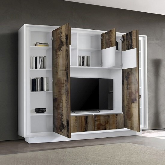 Borden Modern Entertainment Wall Unit In White And Pero_2