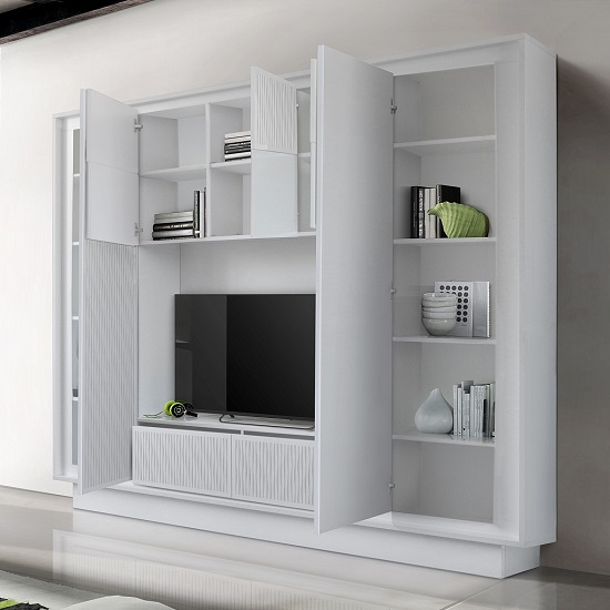 Borden Entertainment Wall Unit In White And Striped Serigraphy_2