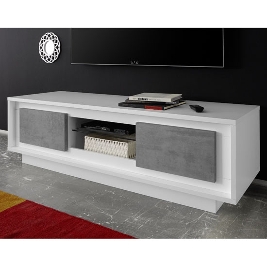Borden Wooden 2 Doors TV Stand In Matt White And Cement Effect