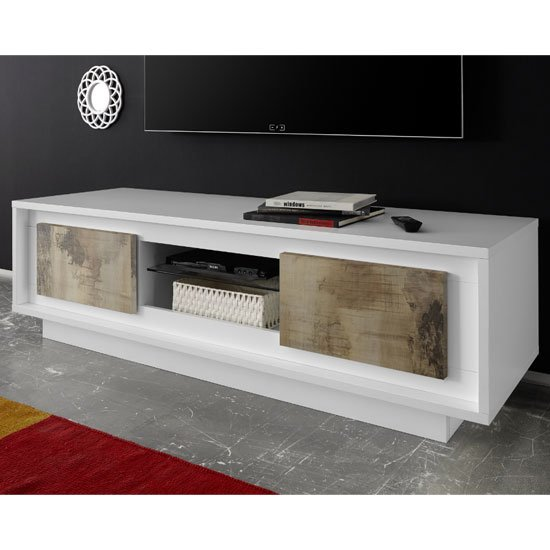 Borden Wooden 2 Doors TV Stand In Matt White And Pero Oak