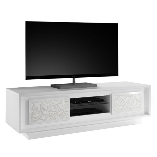 Borden Wooden 2 Doors TV Stand In White And Flowers Serigraphy_2