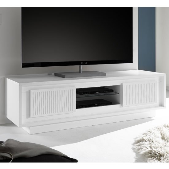 Borden Wooden 2 Doors TV Stand In White And Striped Serigraphy