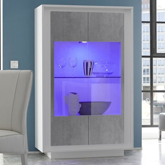 Borden LED Display Cabinet In Matt White And Cement Effect_1