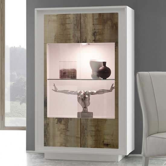 Borden LED Wooden Display Cabinet In Matt White And Pero Oak