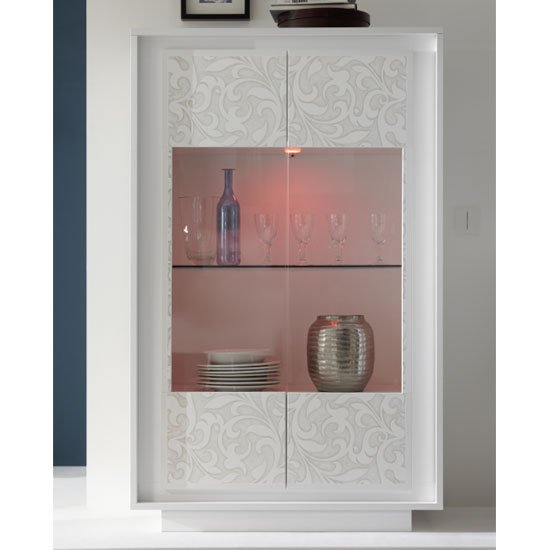 Borden LED Display Cabinet In White And Flowers Serigraphy