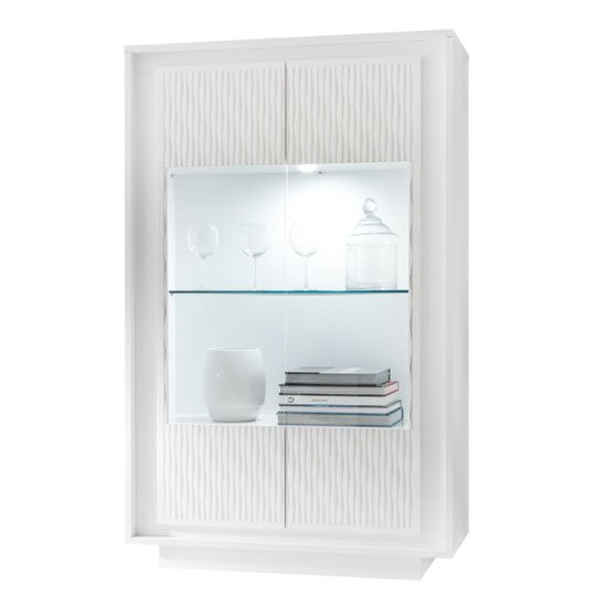 Borden LED Display Cabinet In White And Striped Serigraphy_3