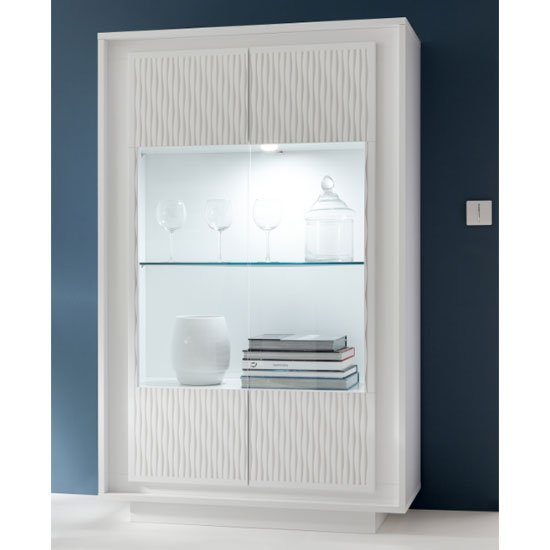Borden LED Display Cabinet In White And Striped Serigraphy_1