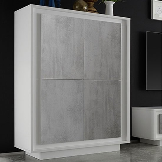 Borden Wooden Highboard In Matt White And Cement Effect