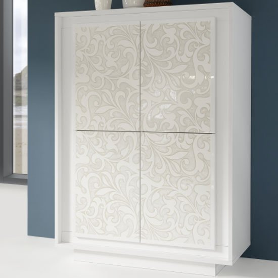 Borden Wooden Highboard In White And Flowers Serigraphy