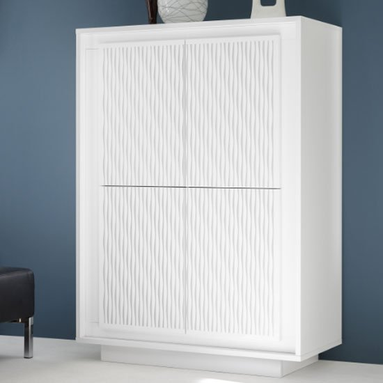 Borden Wooden Highboard In White And Striped Serigraphy