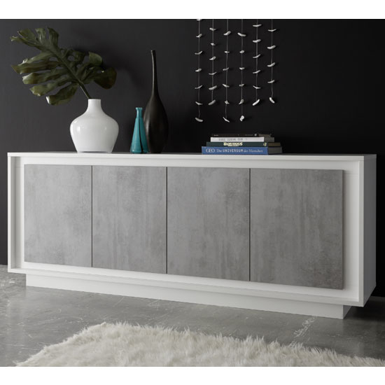 Borden Wooden Sideboard In Matt White And Cement Effect