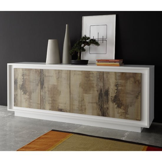 Borden Wooden Sideboard In Matt White And Pero Oak