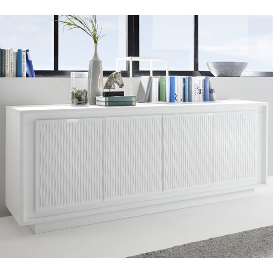 Borden Wooden Sideboard In White And Striped Serigraphy