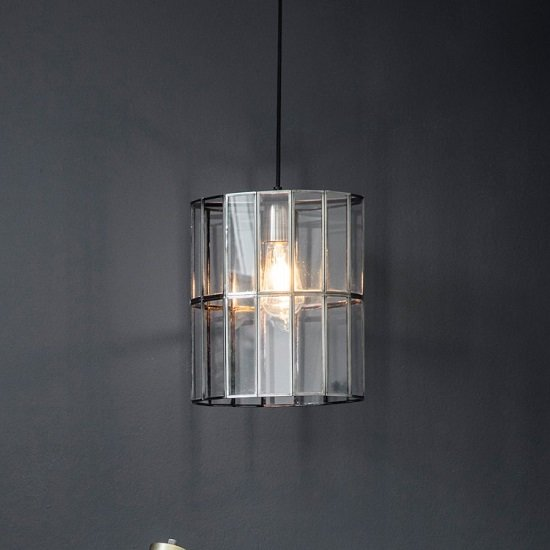 Bordner Lantern Shape Glass Pendant Lamp
