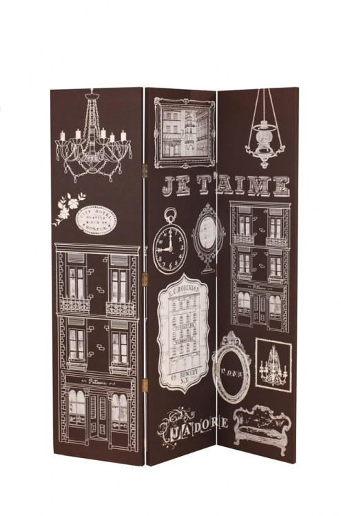 Bourgeoise French Canvas Room Divider In Printed Monochrome