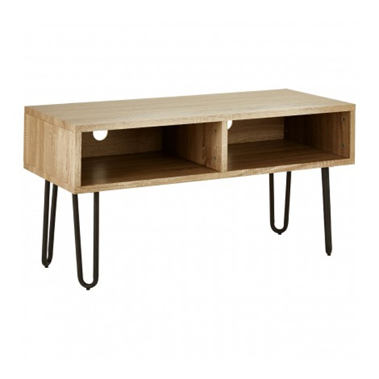Boroh Wooden 2 Shelves TV Stand In Natural With Black Legs