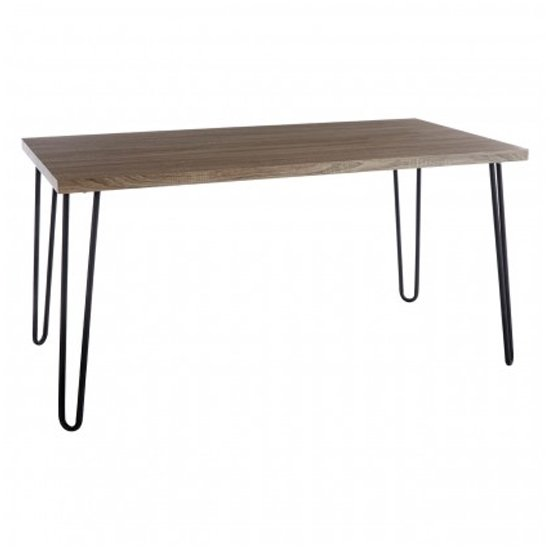 Boroh Wooden Dining Table In Natural With Black Metal Legs