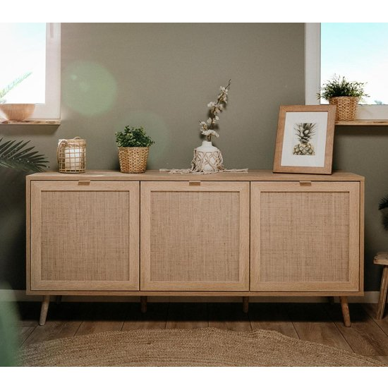 Borox Wooden 3 Doors Sideboard In Sonoma Oak And Bast Look