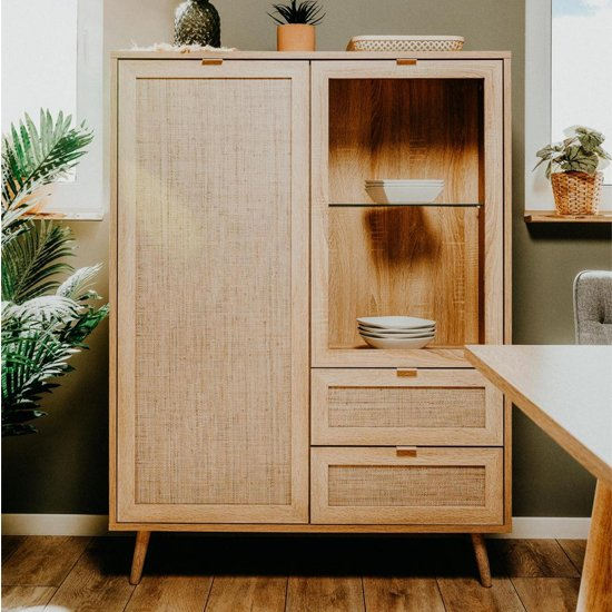 Borox Wooden Highboard In Sonoma Oak And Bast Look
