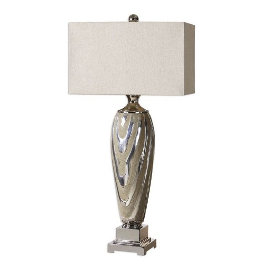 Bosco Table Lamp In Rough Dusty Beige With Silver Accents