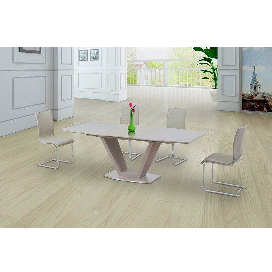 Danton Glass Extendable Dining Table Cream Gloss And 6 Chairs