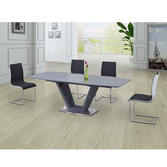 Danton Glass Extendable Dining Table Grey Gloss And 6 Chairs
