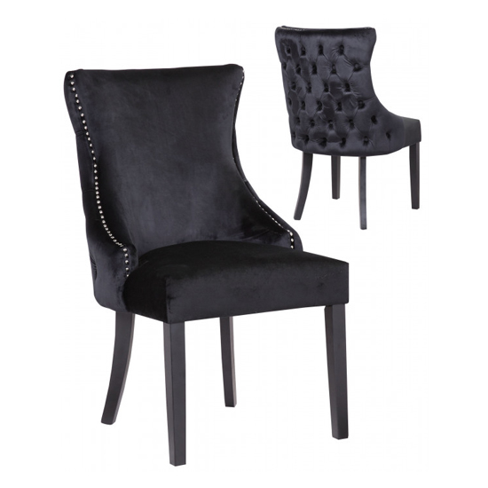 Boston Black Velvet Dining Chairs In Pair