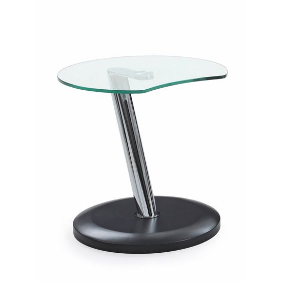 Boston Glass Top End Table In Clear With Black Matt Base